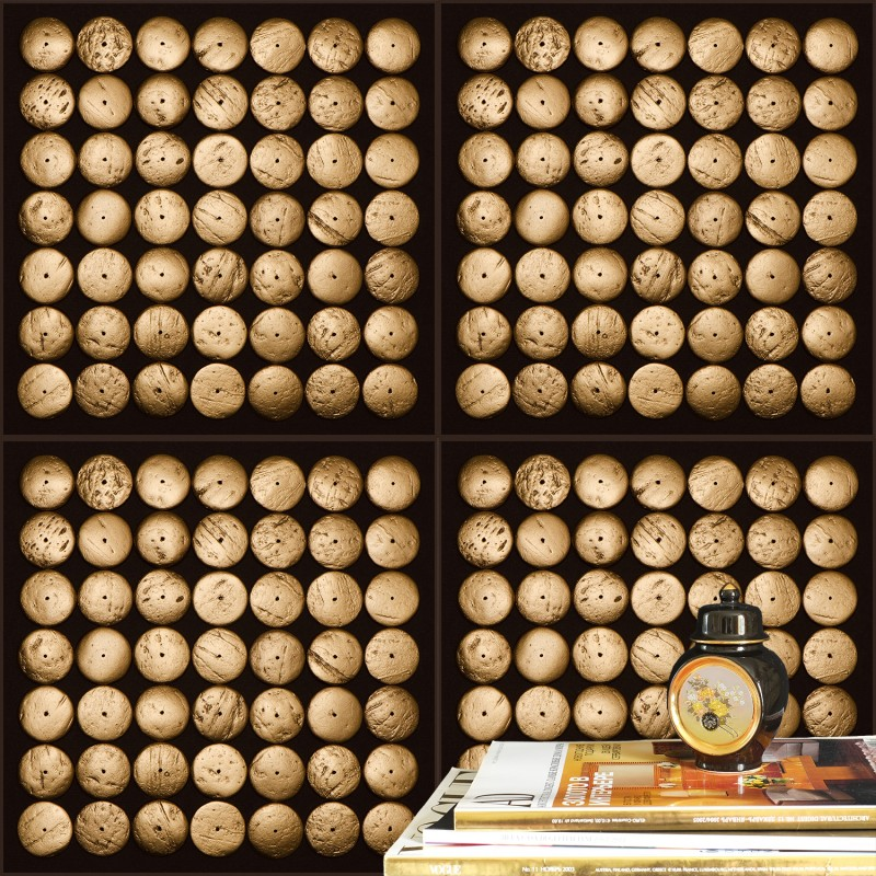 Gold Wood Wallpaper Fragment In Interior.