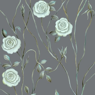 Serene Rose On Dark Grey Background. Fragment.