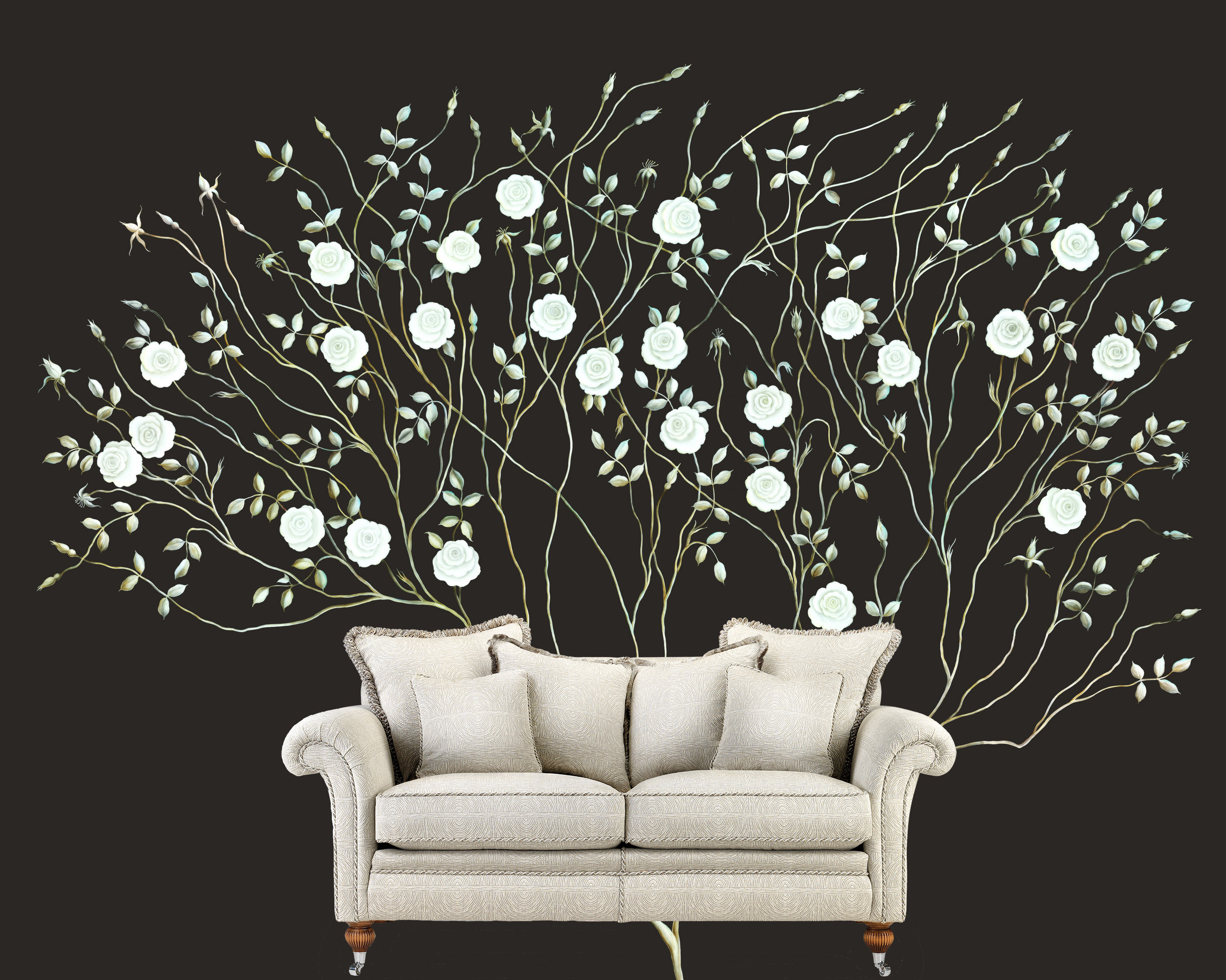3 dreamy rose tree mural svetlana shellshear for Black tree mural