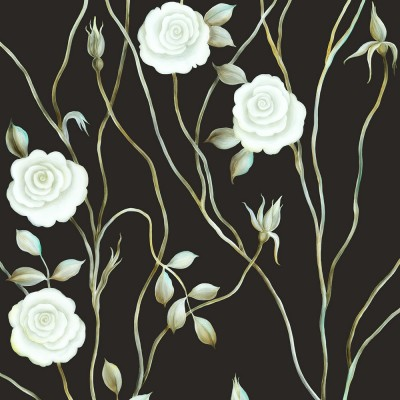 Dreamy Rose On Black Background. Fragment.
