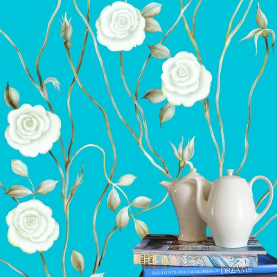 Dreamy Rose On Blue Background. Fragment.