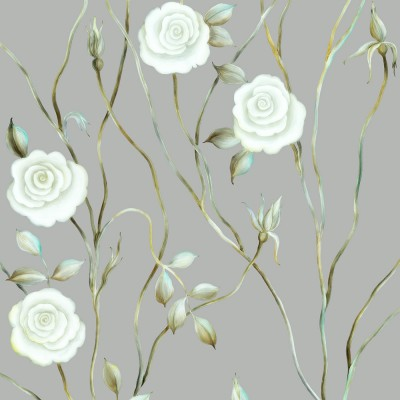 Dreamy Rose On Grey Background. Fragment.