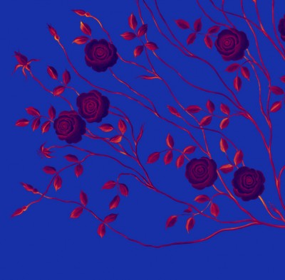 Mysterious Rose Tree Mural On Dark Blue Background