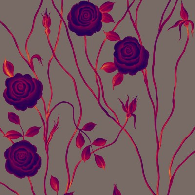 Mysterious Rose On Dark Warm Grey Background. Fragment.