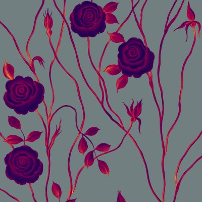 Mysterious Rose On Cool Dark Grey Background. Fragment.