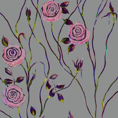 Pop Art Rose On Grey Background. Fragment.