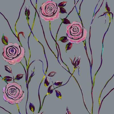 Pop Art Rose On Cool Dark Grey Background. Fragment.