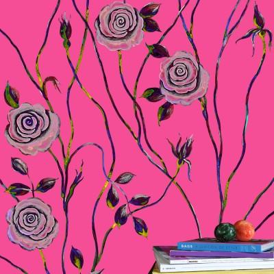 Pop Art Rose On Pink Background. Fragment.
