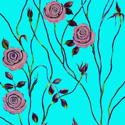 Pop Art Rose On Blue Background. Fragment.