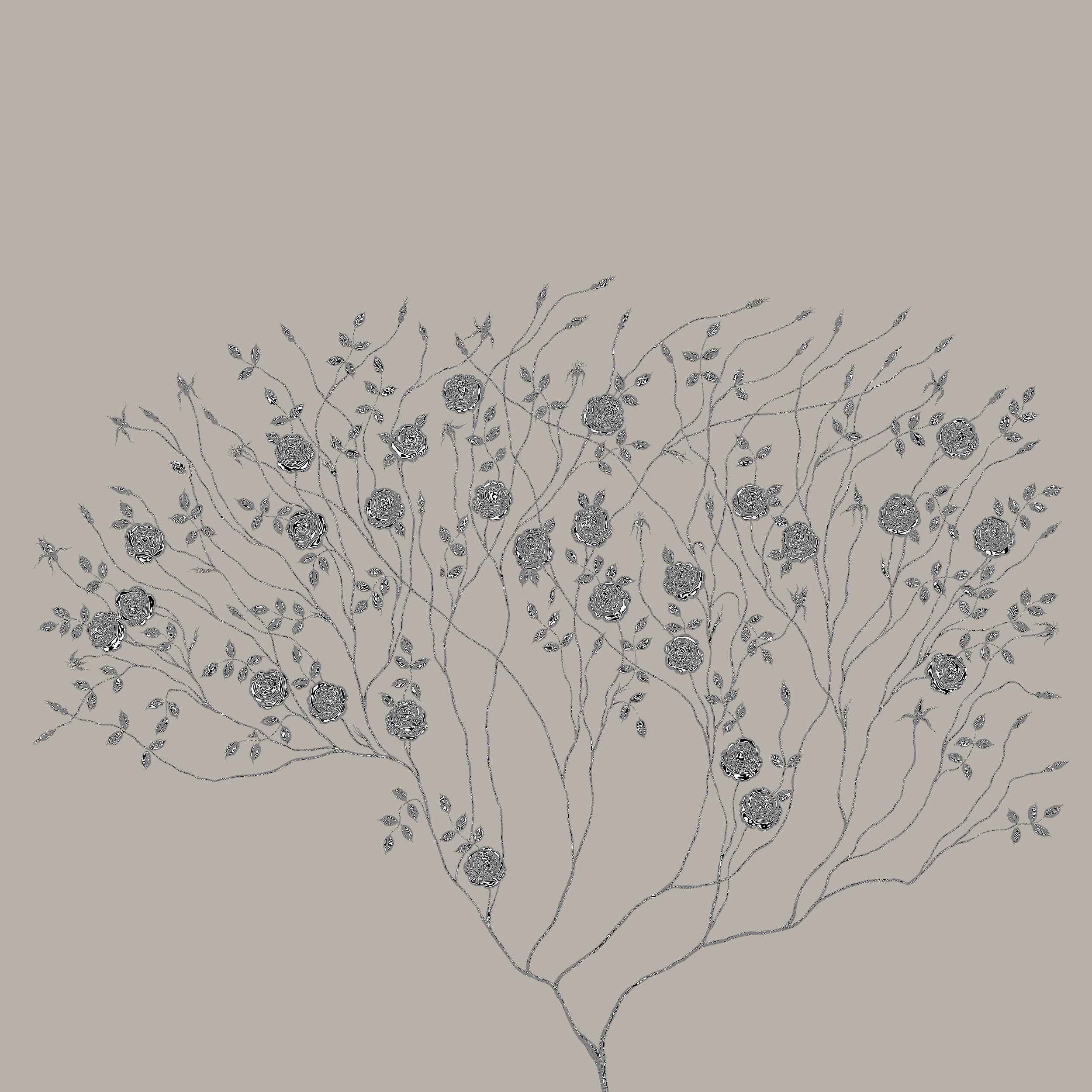 Surreal Rose Tree On Grey Background..