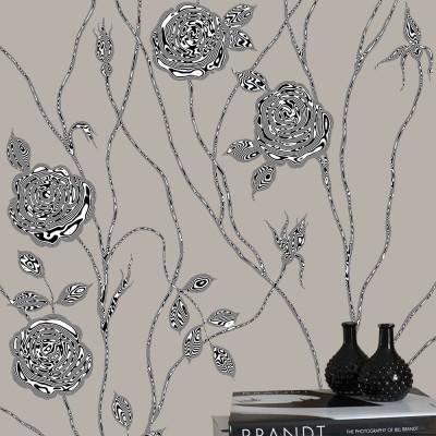 Surreal Rose On Grey Background. Fragment.