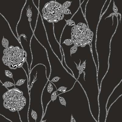 Surreal Rose On Black Background. Fragment.