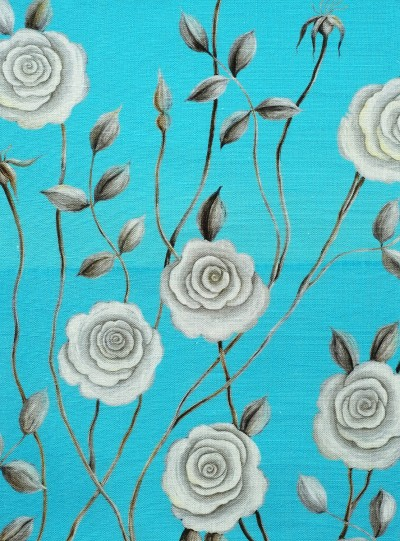 Serene Rose on Blue background