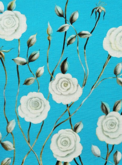 Dreamy Rose on Blue background