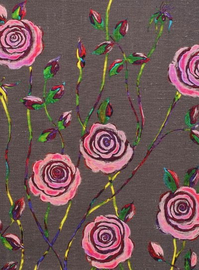 Pop Art Rose on Dark Grey background
