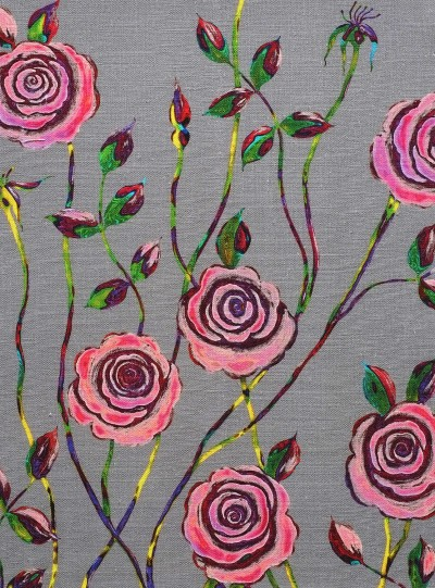 Pop Art Rose on Cool Grey background